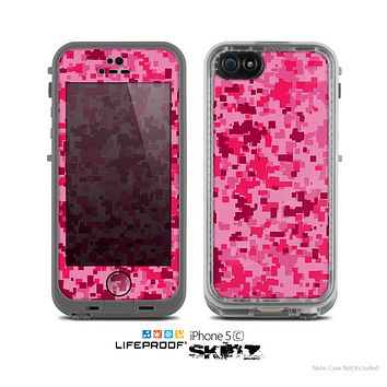 The Hot Pink Digital Camouflage Skin for the Apple iPhone 5c LifeProof Case