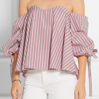 Caroline Constas - Gabriella off-the-shoulder striped cotton bustier top