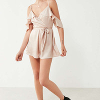 Kimchi Blue Sateen Ruffle Wrap Romper | Urban Outfitters