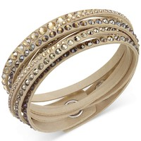Swarovski Golden Fabric Crystal Stud Wrap Bracelet