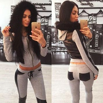 Leaky belly button Multicolor Hoodie Sweatshirt Pants Sweatpants Set Two-Piece Sportswear