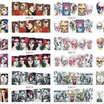 ESBON5U 12 Sheets/Lot Nail BN181-192 Voodoo Girl Flower Skull Full Cover Nail Art Water Wraps Sticker Decal For Nail (12 DESIGNS IN 1)