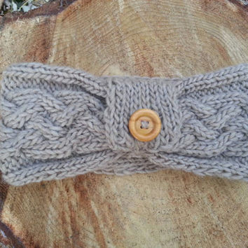 Ear warmer headband with button, cable knit in soft latte recycled wool, ready to ship