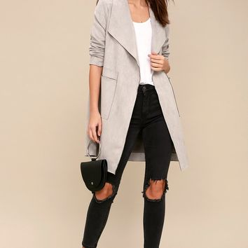 Great Adventure Light Grey Suede Jacket