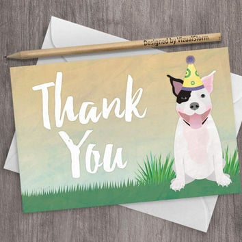 Printable Pitbull Thank You Card Digital Dog Party Thank You Note Cards Cute Pitbull Card 4x6 Dog Cards Dog Birthday Party Thank You Notes