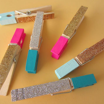 6 Colorblock Glitter Clothespins, Large, Pink Teal Mint Gold Silver Copper