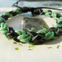 Valentine's Day Gift Tiny Style Green Cotton Cord and Nature Black Leather Braid Woven Together Stylish Adjustable Wrap Bracelet S-34