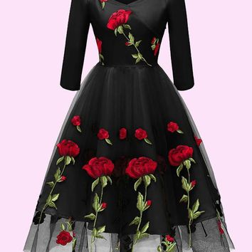 53a56c7d02d New Black Floral Off Shoulder Embroidery Grenadine Pleated Tutu Mexican  Elegant Homecoming Party Midi Dress