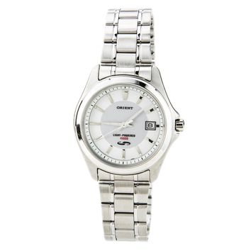 Orient PVD09001W Men's White Dial Stainless Steel Solar Cell Energy Watch