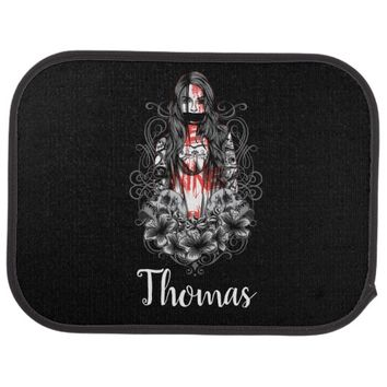 Personalized Skulls Woman Tattoo Car Mat