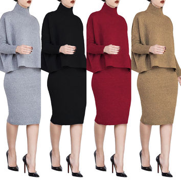 Women tracksuit set skirt and sweater top pencil skirt top knitted the split Nightclub Set dos piezas mujer plus size 4XL