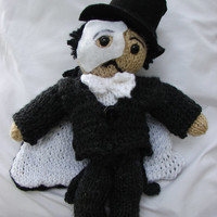 "Phantom of the Opera Doll, Hand Knitted, 13"" Tall"