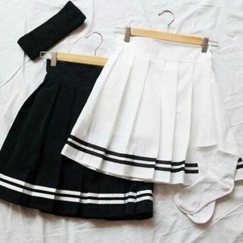 ESBONX5H Cute Casual Ruffle High Waist Skirt