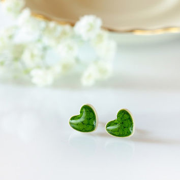 Green heart earrings girls earrings for girls Cute stud earring Sterling silver posts Green stud earrings Ceramic studs green earrings clay