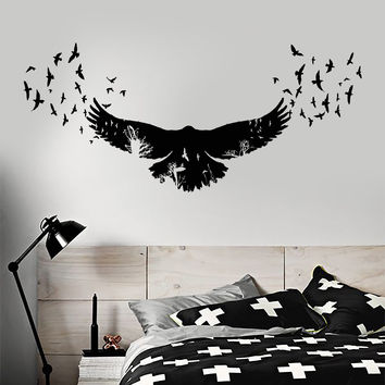 Vinyl Wall Decal Raven Birds Gothic Style Trees Animals Nature Stickers Unique Gift (1336ig)