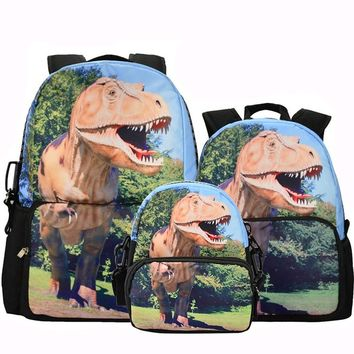 CrazyPomelo Jurassic World 3D Dinosaur Backpack Parent-child Bag 3-Piece Suit