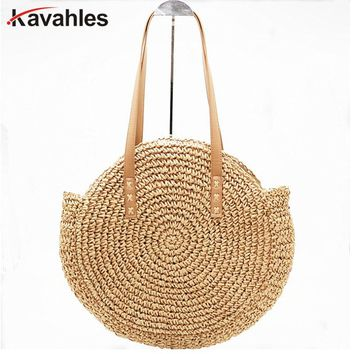 New Natural Ladies Tote large handbag hand-woven big straw bag round popularity straw Women Shoulder Bag beach holiday bag LW-69