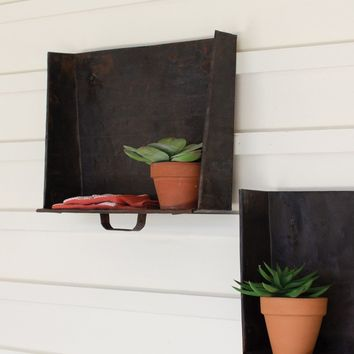 Set of 2 Rustic Tray Wall Shelves