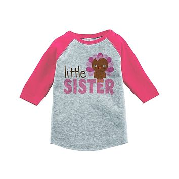 Custom Party Shop Baby Girl's Little Sister Thanksgiving Pink Raglan