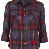 Navy Blue Check Shirt - Shirts - Tops - Clothing - Topshop USA