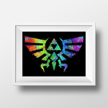 Gaming Poster, Legend of Zelda Triforce, Nintendo, Wingcrest Print