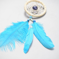 Car accessory for women, Small Blue  Dream catcher with Ostrich Feather,Goose Feather and large glass bead, Car Mirror Charm.