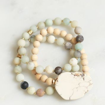 Stone & Beaded Bracelet Set Sage/ Taupe