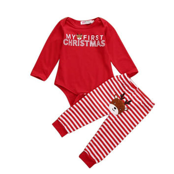 Baby Girls Christmas Costumes Clothes Set Newborn Infant Long Sleeve Bodysuit +Pants Outfit