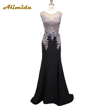 100% Real Photo 2017 Haute Couture Appliques Embroidery Mermaid Evening Dress Long Evening Gowns Party Formal Dresses Plus Size