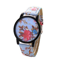 Womens Girls Floral Print Leather Strap Wrist Watch Best Gift