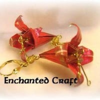 Origami Red Lily Earrings by enchantedcraft on Zibbet