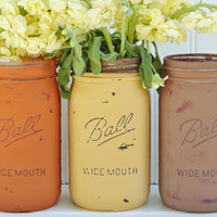 "Fall Decor - PAINTED MASON JARS - ""Pumpkin Patch"", Mason Jar Centerpiece. Rustic Wedding Decor, Mason Jar Vases, Double-Distressed"