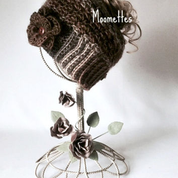 Handmade Messy Bun Hat Brown Black Cream Beanie Wood Button Crochet Flower Pony Tail Teens Women