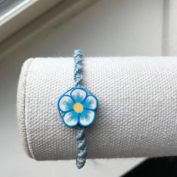 Natural Hemp Turquoise Spiral Bracelet with Flower Bead