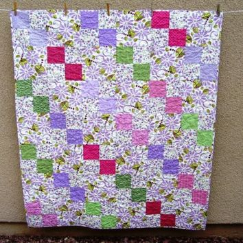 HOLIDAY SALE Handmade Lap Quilt in Lavender, Pink, Green - Spring Colors, Floral, Bright Colors, Throw