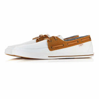 Penguin White & Tan 2 Tone Boat Shoes - Casual Shoes - Shoes and Accessories