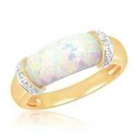 10k Yellow Gold Created Opal Center and Diamond Ring