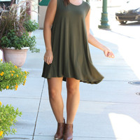 It's All Fun and Games Dress- Olive