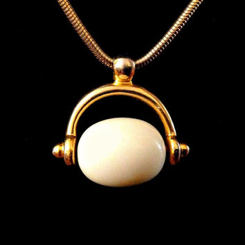 VENDOME Pendant Necklace, Modernist, Egyptian Revival, Snake Chain Rolling Bead Vintage Signed