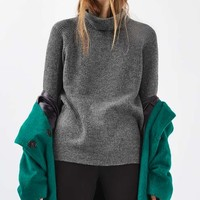 Oversized Blouson Roll Neck Jumper - Sweaters & Knits - Clothing