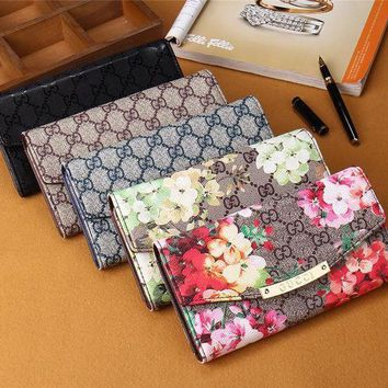 DCCK Gucci' Women Purse Retro Classic Double G Flower Print Long Section Three Fold Wallet Handbag