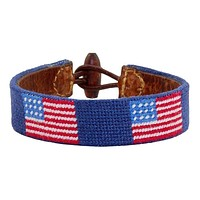 American Flag Needlepoint Bracelet in Classic Navy by Smathers & Branson