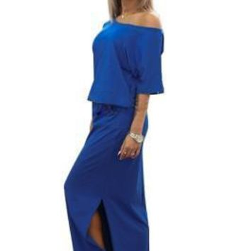 Ethereal Elastic Waist Pocket Sapphire Blue Long Dress