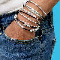 The ORIGINAL Boho Leather Wrap Chain Bracelet - Adjustable Leather Tube Triple Bangle Wrap Gypsy Bracelet - Pick SIZE / COLOR - Usa