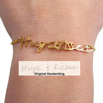 Custom Personalized Actual Handwriting Bracelet- Memorial Jewelry, Keepsake Jewelry