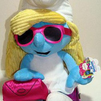 "Licensed cool SMURFETTE Chic SMURF 22"" Jumbo Plush Stuffed Doll w/ Glasses & Clutch purse NEW"