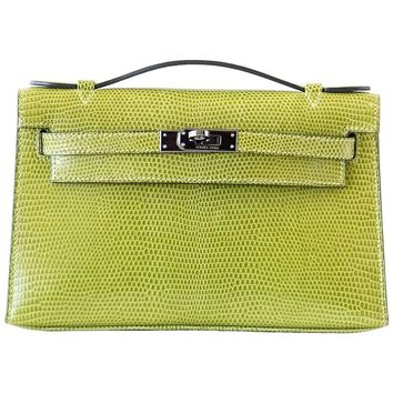 Hermes Kelly Pochette Clutch Bag Vert Anis Rare Lizard Palladium Hardware