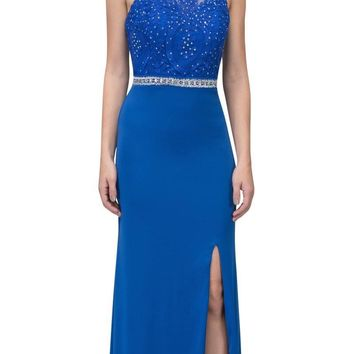 Royal Blue Long Formal Dress Appliqued Bodice with Slit