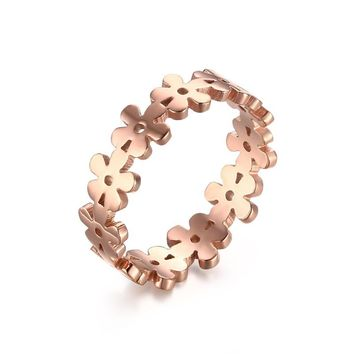 Meaeguet 4mm Girl Fashion Style Flower Ring Cute Lovely Round Elegant Flower Wreaths Rose Gold Rings for Women US Size 5-8