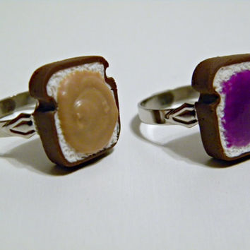 Peanut Butter & Jelly Friendship Rings (Adjustable) - Miniature Food Jewelry